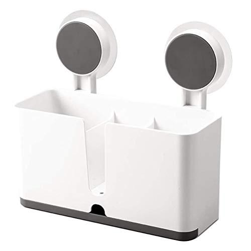 Kousa Soporte de plástico para utensilios de cocina StorageBox con 2 ventosas, para cocina, baño, fregadero, cesta de pared, sin publicidad