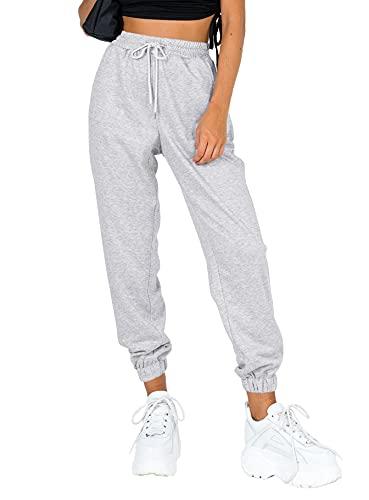 Ezymall Womens Sweatpants Lounge Comfy High Waisted Workout Cinch Bottom Joggers Pants with Pockets Grey