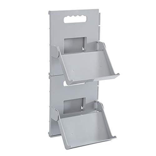 XIHUANNI 1/2 estantes verticales apilables para zapatos, organizador de zapatos plegable que ahorra espacio, montaje rápido, no requiere herramientas.
