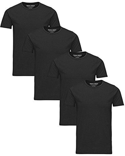 JACK & JONES Herren T-Shirt 4er Pack Basic Rundhals Tee 12058529, Farbe:Schwarz, Größe:M