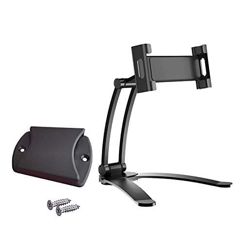 Nobranded Soporte de pared 2 en 1 para tabletas de cocina soporte ajustable bajo el gabinete soporte de escritorio para tabletas y teléfonos móviles. - Negro L