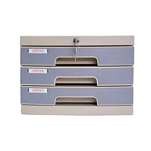 LHQ-HQ Clasificador de cajones de escritorio, organizador de escritorio con cerradura, caja A4 para oficina (3 capas: 30,5 x 38,5 x 21,3 cm)