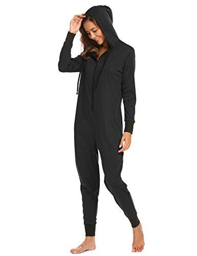 Jumpsuit Damen Onesie Schlafoveralls Jogging Anzug mit Kapuze Trainingsanzug Einteiler Schlafanzug Langarm Strampler Kuscheliges Pyjamas mit Reißverschluss für Frauen Mädchen - 2