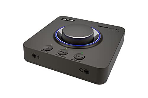 CREATIVE Sound Blaster X4 Hi-Res 24 Bit/192 kHz Externe USB-DAC- und Verstärker-Soundkarte, Super X-Fi, diskreter 7.1.-Surround, Optischer Eingang-/Ausgang, Line-in, Mikrofon-Eingang, Headset-Eingang