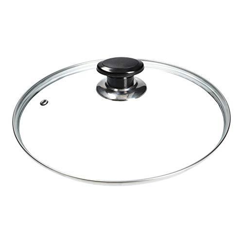 LUTH Premium Profi Parts - Coperchio Universale in Vetro con Manico a Bottone e Bordo Interno in Acciaio Inox (Diametro 300mm)