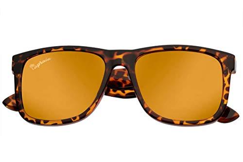 Capraia Rovello Clásicas Gafas de Sol Ultra Ligeras TR90 Montura Deportiva Leopardo y Lentes Doradas Espejadas Polarizadas protección UV400 para Hombre