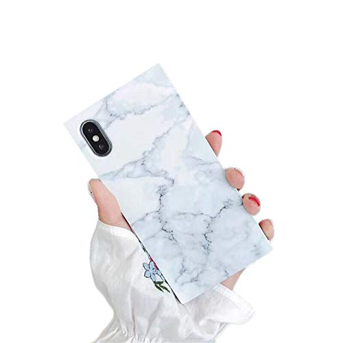 """Cocomii Square Marble iPhone XR Case, Slim Thin Glossy Soft Flexible TPU Silicone Rubber Gel Trunk Box Square Edges Fashion Phone Case Bumper Cover Compatible with Apple iPhone XR 6.1"""" (White)"""