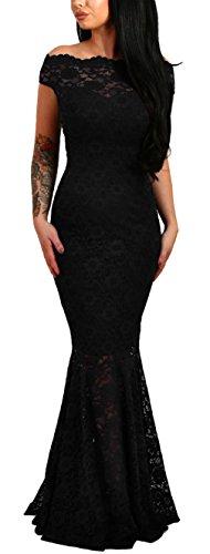 Lukis Damen Meerjungfrau Ballkleider Off Shoulder Lang Abendkleider Partykleid Schwarz M-Brust 85~95cm