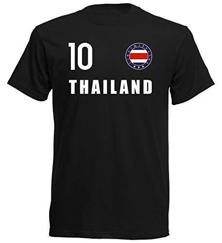 Nation Camiseta de Tailandia con escudo del FH 10 SC Negro XXL
