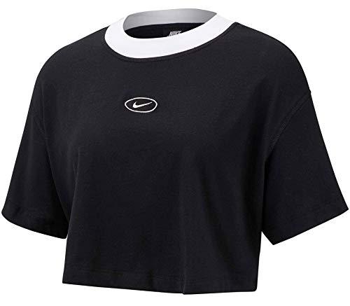 NIKE W NSW Swsh Top SS Camiseta, Mujer, Black/Black, XL