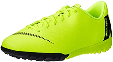 Nike Jr. VaporX 12 Academy Turf Soccer Shoes, Volt, 4 Big Kid