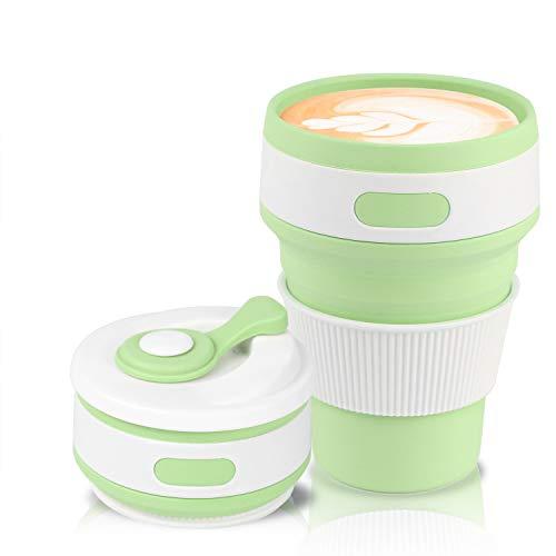 Jazz Pose Faltbarer Becher Kaffeebecher, kaffeebecher to go, Silikon Becher, Klappbecher, Tragbarer und Wiederverwendbarer Kaffeebecher, BPA-frei(Grün, 350 ML/12 OZ)