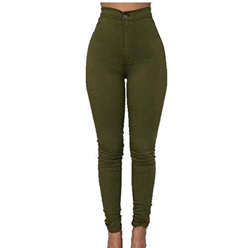 U/A Pencil Jeans Mujeres Estiramiento Casual Denim Skinny Pantalones Pantalones De Cintura Alta Verde verde XXXL