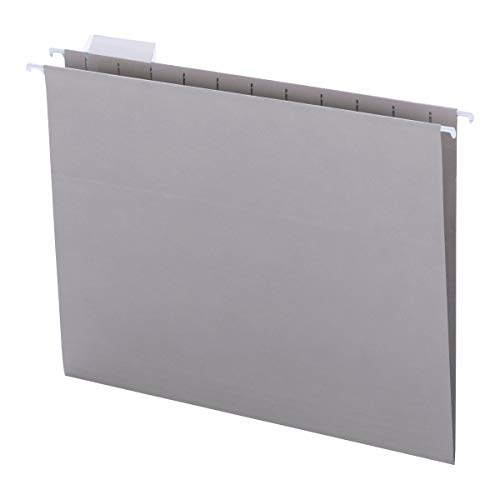 Smead Colored Hanging File Folder with Tab, 1/5-Cut Adjustable Tab, Letter Size, Gray, 25 per Box (64063)