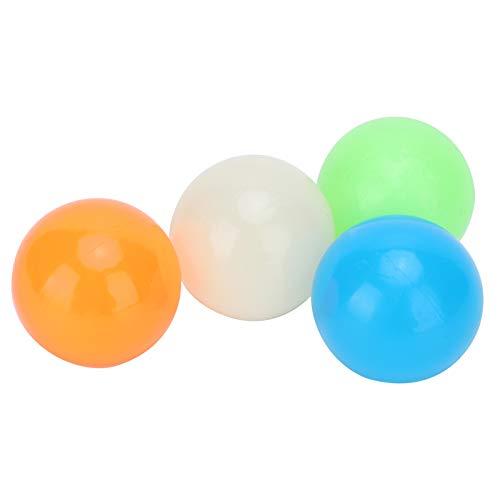 YOUTHINK 4pcs Stick Wall Ball Juguetes para aliviar el estrés Descompresión Luminous Stick Ball Toys Set Bolas luminiscentes para aliviar el estrés Bolas Adhesivas(45mm)