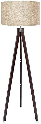 BESTPRVA Lámpara de pie trípode de madera Lectura derecha E26 Luz for sala de estar dormitorio y sombra Oficina del diseño moderno de la lámpara de lino