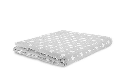 TherapieDecke - Graue Gewichtsdecke mit weißen Sternen - Schwere Decke für Erwachsene/Jugendliche Für besseren Schlaf, Größe: 135x200 cm, 4 kg