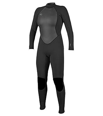 O'Neill Women's Reactor-2 3/2mm Back Zip Full Wetsuit, Black/Black, 12