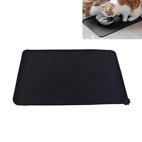 Pssopp Katze Fütterungsmatte Silikon Futtermatte Katzen Napfunterlage Katzen Futternapf Unterlage Futtermatte für kleine Hunde Katzen(schwarz)