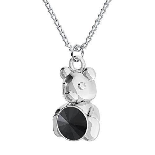 Beforia Paris - Collana con ciondolo a forma di orsetto, in argento 925 con elementi Swarovski®, con custodia PIN/75 e Argento, colore: Giaietto, cod. 7