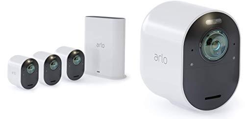 Arlo Ultra 4K HDR Kit de 4 Caméras Intelligentes Connectées, éclairage Intégré, Rechargeable, sans Fils, Audio Bi-Directionel, Étanche, Jour/Nuit, Vision Nocturne Coloreée, Grand Angle 180° (VMS5440)