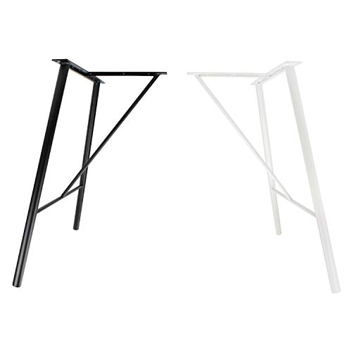 2x Natural Goods Berlin Tischgestell FILIGREE Hairpin Legs filigrane Tischbeine geneigt | 30mm Stahl | Esstisch, Schreibtisch, Konferenztisch (B71 x H72cm, Weiß)