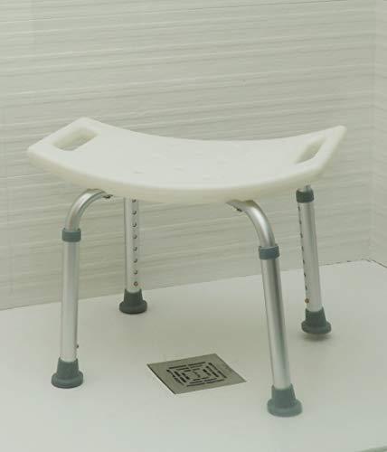 OrtoPrime Taburete de Ducha sin Respaldo Antideslizante   Asiento de Baño Ortopédico Regulable en Altura   Indicado para Adultos y Niños   Peso soportado 130 Kilogramos
