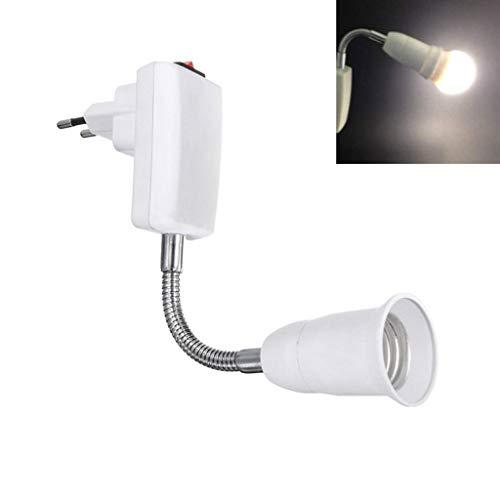 Lampe Steckdose E27, Lampenfassung ohne Kabel, mit Schalter und 360 Grad Flexibel Arm, Adapter für EU-Steckdose und E27-LED-Lampe, für Leselampe, Steckerleuchte und Nachtlicht, 1er-Set (ohne Licht)