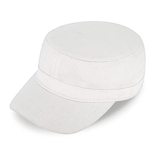 fiebig Army GI-Cap   Klassische Arbeitsmütze mit flexiblem Verschluss   Militär Outdoor Kappe aus Baumwolle (One Size, Weiß)