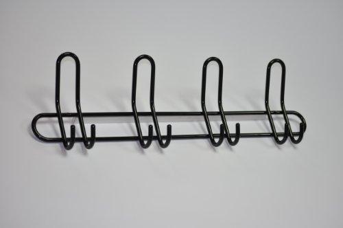 Guardarropa el listón de gancho el listón de guardarropas el colgador acero negro con 4 ganchos dobles 585 x 170 x 60 mm