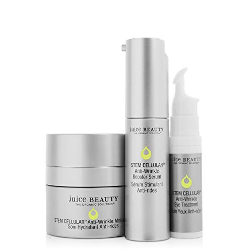 Juice Beauty Stem Cellular AntiWrinkle Solutions Kit  Age Defying Daily Skincare Set with Facial Serum Face Moisturizer and Eye Cream Treatment  Made with Organic Ingredients 3 Products