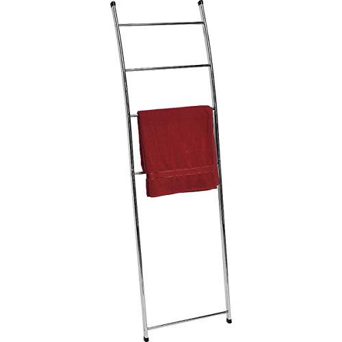 EVIDECO 96131102 Free Standing Bath Towel Ladder Wall Leaning Drying Rack 4 Bars Metal, Chrome