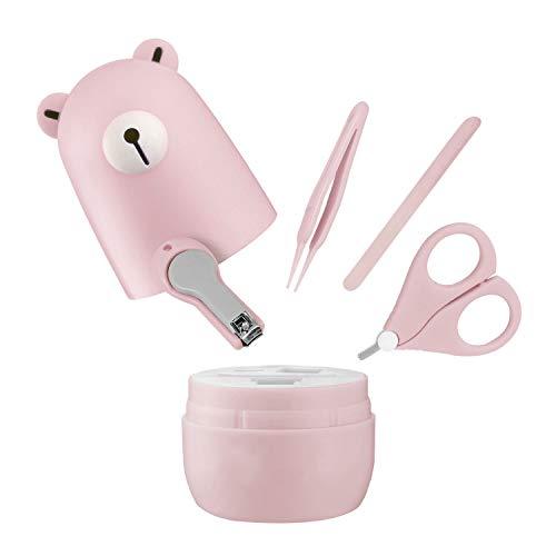 Gaetooely Kit de Manicura para BebéS con Forma de Oso, Caja Fuerte, Tijeras, Pinzas y Lima de UUAs (4 Piezas), Juego de Cuidado de UUAs para ReciéN Nacidos,NiiOs(Rosa)
