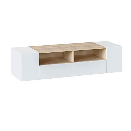 Mueble de Salon, modulo Comedor Tamiko, Acabado Blanco Artik y Roble Canadian, Medida: 138 cm (Ancho) x 34 cm (Alto) x 40,2 cm (Fondo).