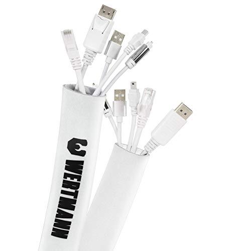 Wertmann Kabelschlauch, 3m Cable Management - Neopren Kabelkanal mit einstellbarem Durchmesser für Kabelmanagement, Kabelschutz oder als Kabelorganizer in weiß