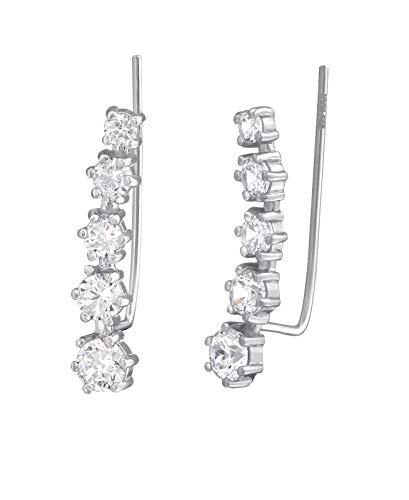 Tata Gisele - Pendientes de plata 925/000 rodiada y óxido de circonio – Lobe contorno de oreja curvado – 21 mm