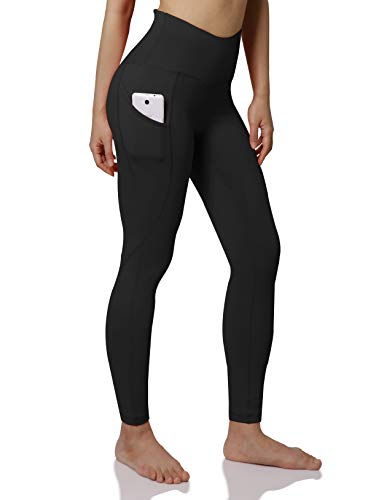 ODODOS Women's High Waist Yoga Pants with Pockets,Tummy Control,Workout Pants Running 4 Way Stretch Yoga Leggings with Pockets,Black,Medium