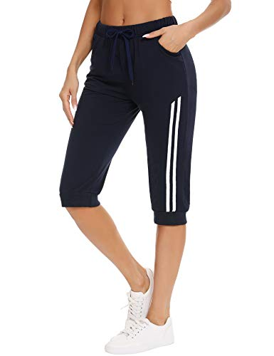 Doaraha Pantalón Capri Mujer Deportivos Pantalones Pirata de Fitness 3/4 Capris Chándal Cintura Alta con Bolsillo para Deporte Yoga Running Correr Entrenamiento (Azul Marino, XL)