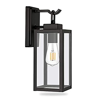 Hykolity Outdoor Wall Lantern, Matte Black Wall Sconce Light Fixtures, Architectural Fixture with Clear Glass Shade ETL List for Entryway, Porch, Doorway