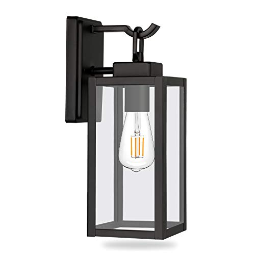 Outdoor Wall Lantern, Exterior Porch Light, Matte Black Wall Sconce Lighting Fixtures, Architectural Fixture with Clear Glass Shade ETL Listed for Entryway, Front Door, Doorway