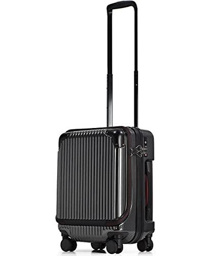 [PROEVO/プロエボ] スーツケース フロントオープン 機内持込 ストッパー付き キャリーケース キャリーバッグ 軽量 小型 (SSサイズ(約32L), カーボン/ブラック)