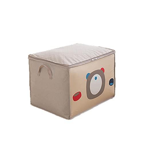 LINJJ Caja de almacenamiento plegable con cremallera con caja de loff pequeña cesta armario caja de almacenamiento para dormitorio armario oficina-Beige_TO