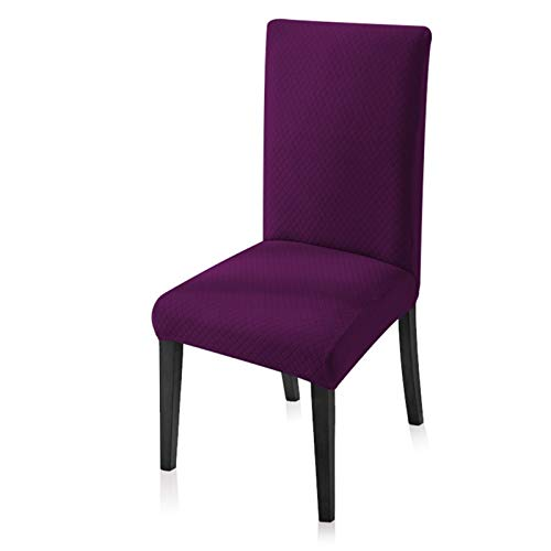Cubierta de Silla Jacquard Cubierta de Silla de Comedor de Espesor elástico Espeso para Sala de Estar Sala de Estar Cocina Comedor Decoración de Boda Cubierta de Silla sólido (Color : Purple)