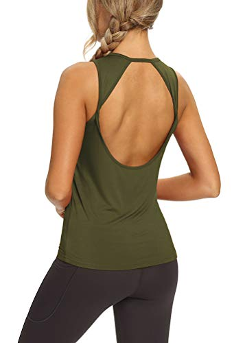 Mippo Workout Tops for Women Yoga Shirts Open Back Tank Tops Athletic Tops Gym Workout Clothes