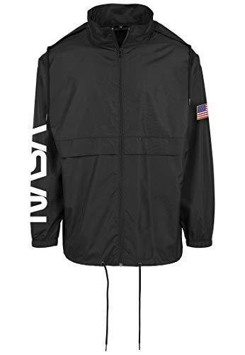 Mister Tee Herren NASA Worm Logo Nylon Windbreaker Jacke, Black, S