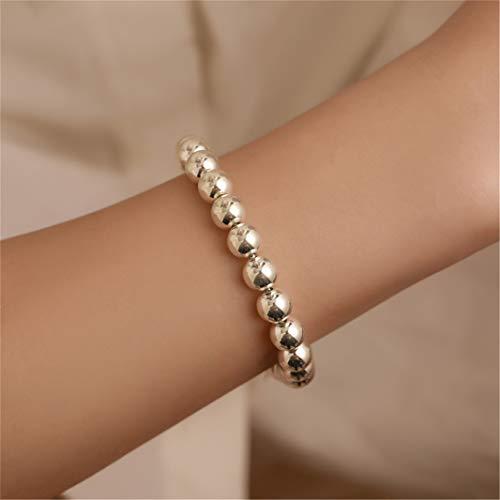 #N/A Pulseras de plata con cuentas recubiertas para mujer, pulsera simple clásica para parejas, regalo de cumpleaños, elegantes pulseras para parejas, mujeres y hombres