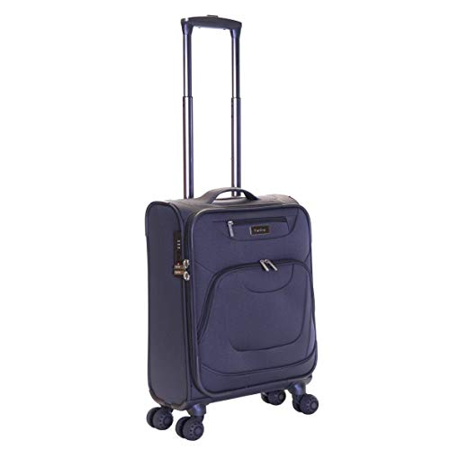 Karabar Cabin Carry-on Hand Luggage Suitcase Bag Lightweight 55 cm 2.5 kg 40 litres Soft Shell with 4 Spinner Wheels and Integrated TSA Number Lock, Mayfair Grey