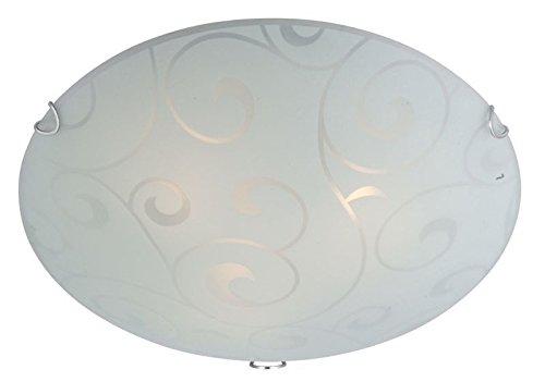 Deckenlampe 3 flammig Deckenleuchte Schlafzimmer Lampe Glas satiniert (Deckenlicht, Deckenstrahler, Wohnzimmer Leuchte, Flur, rund, Durchmesser 40 cm x Höhe 10 cm, Fassung 3 x E27)