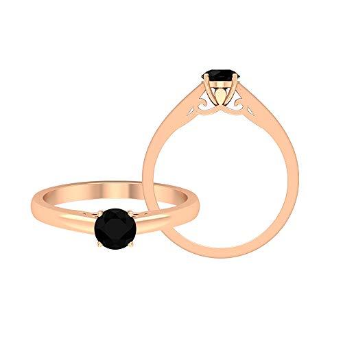 Anillo solitario de 5 mm de ónix negro, anillo de ajuste de corona, oro simple promesa anillos para mujer, solitario anillo de compromiso, 14K Oro rosa, Size:EU 54