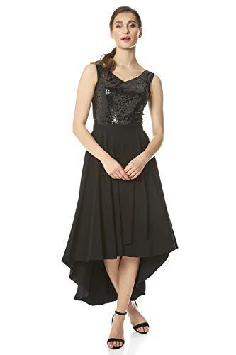Roman Originals Damen Kleid mit Bardot-Ausschnitt und Pailletten - Damen Skater-Kleid besondere Anlässe Weihnachten Silvester schulterfrei asymmetrisch - Black - Größe 46